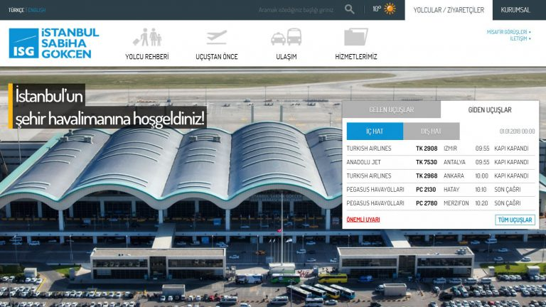 İstanbul'un şehir havalimanına Sabiha Gökçen