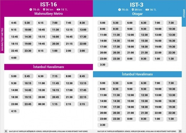 Havaist IST-16 Mahmutbey / IST-13 Otogar seferleri ücretleri