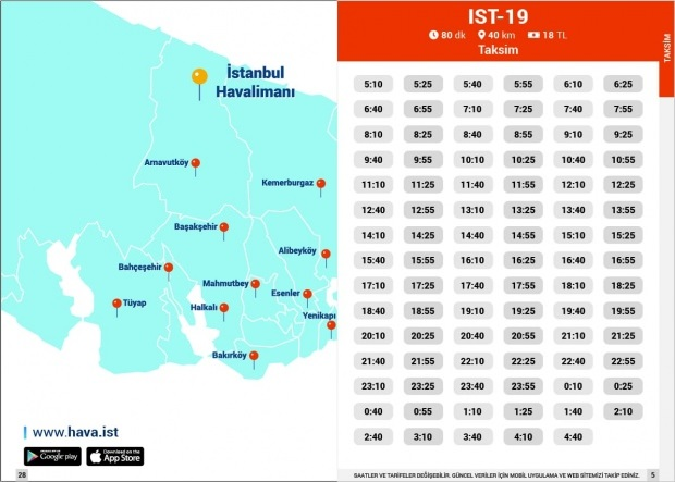 Havaist IST-19 Taksim güzergah fiyat sefer