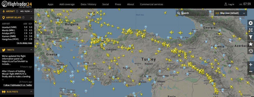 türkiye Gerçek Zamanlı Uçuş Takibi Haritası