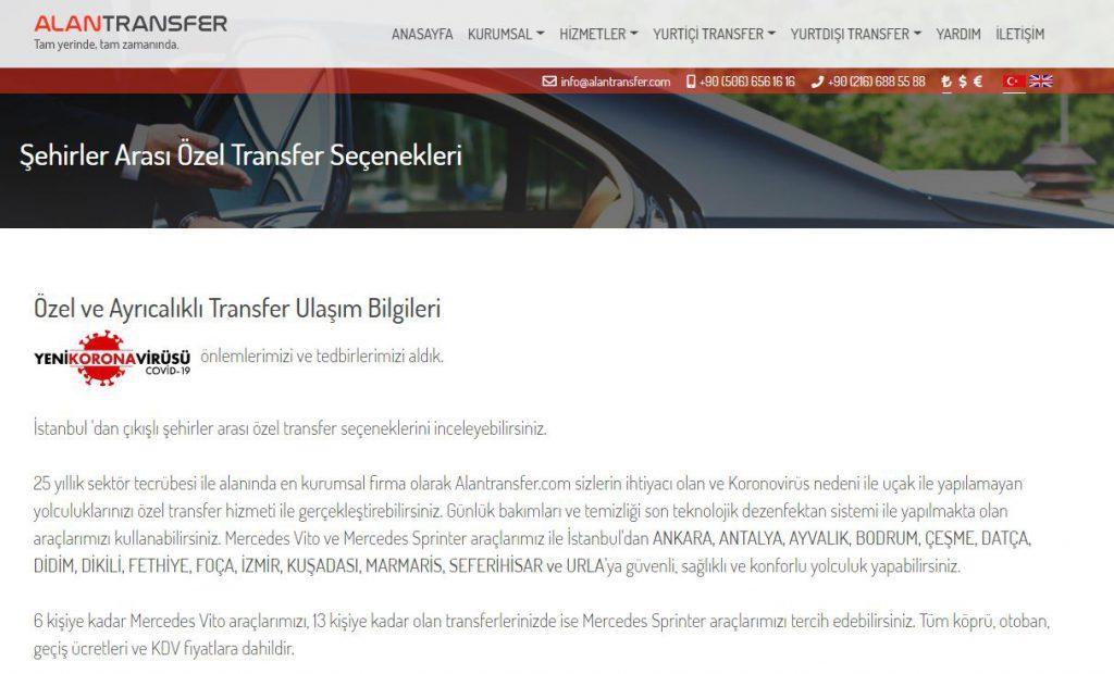 istanbul şehirlerarası transfer